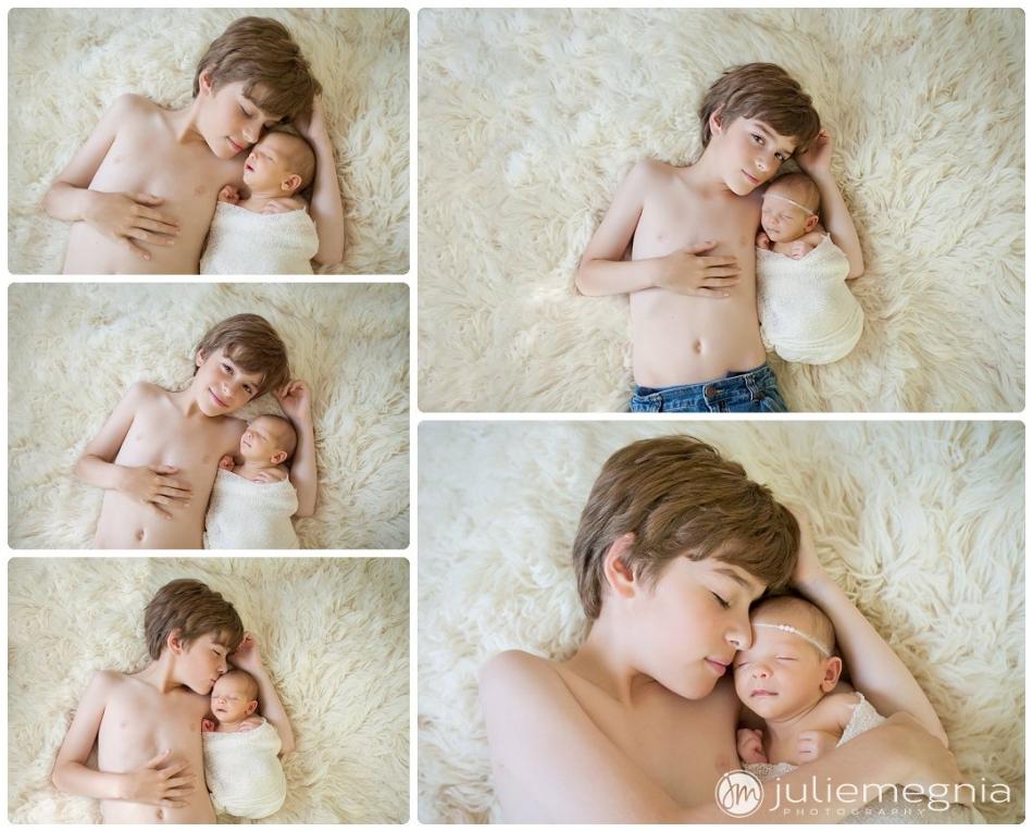 Sleeping Newborn girl and her big brother on cream fur