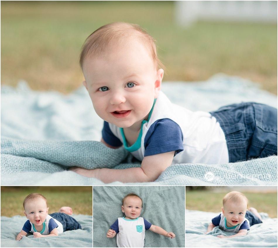 5 month milestone lifestyle baby portrait in garden