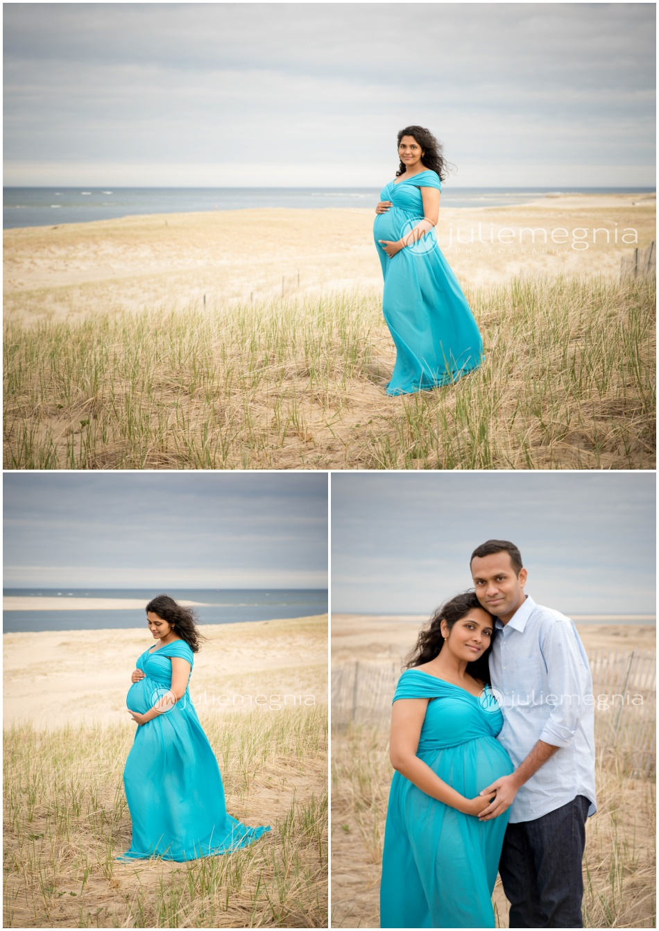 Chatham Beach Maternity Portraits_Peacock Blue Dress_Julie Megnia Photography