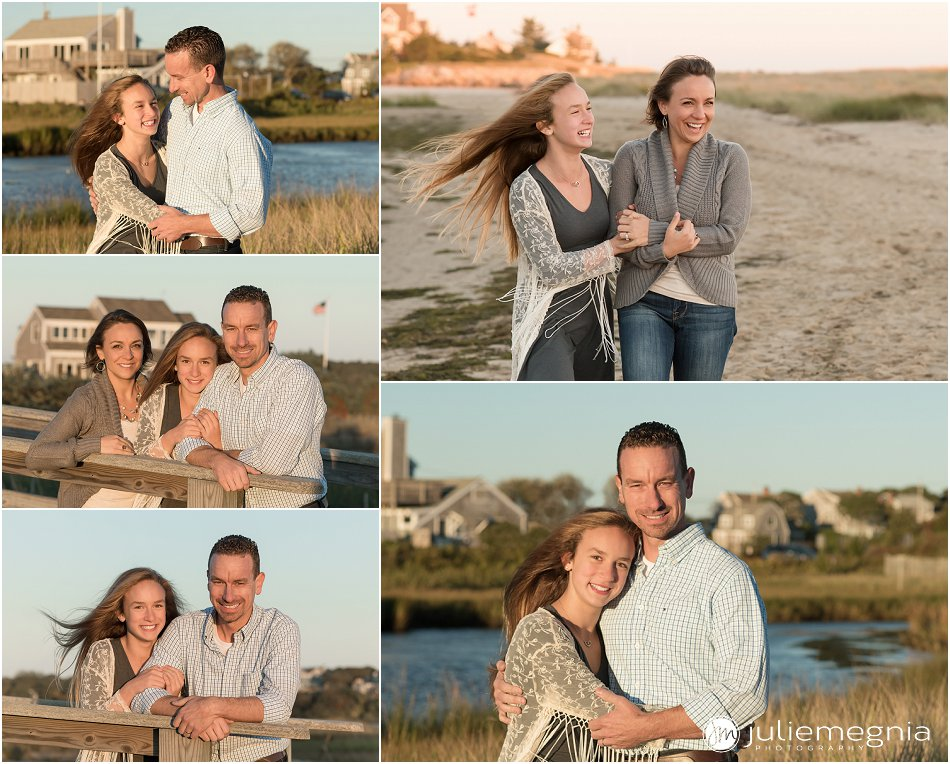 tween and family sunset beach portraits in Chatham MA