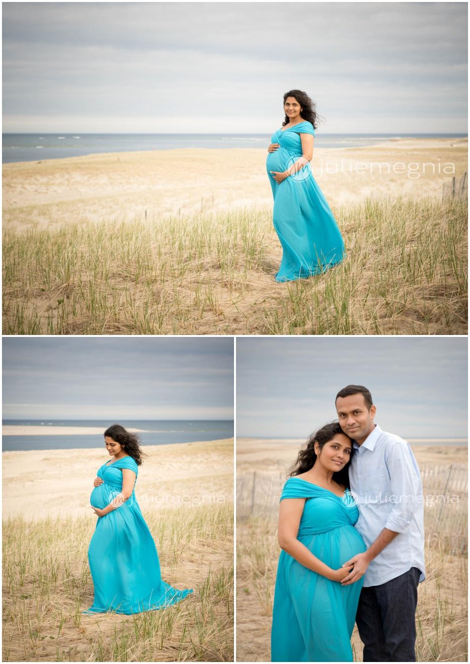 Chatham Beach Maternity Portraits_Peacock Blue Dress_Julie Megnia Photography